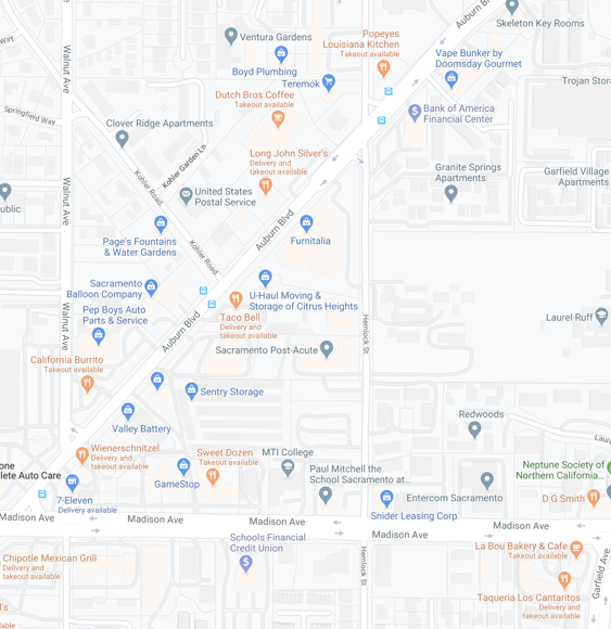 Map of Businesses